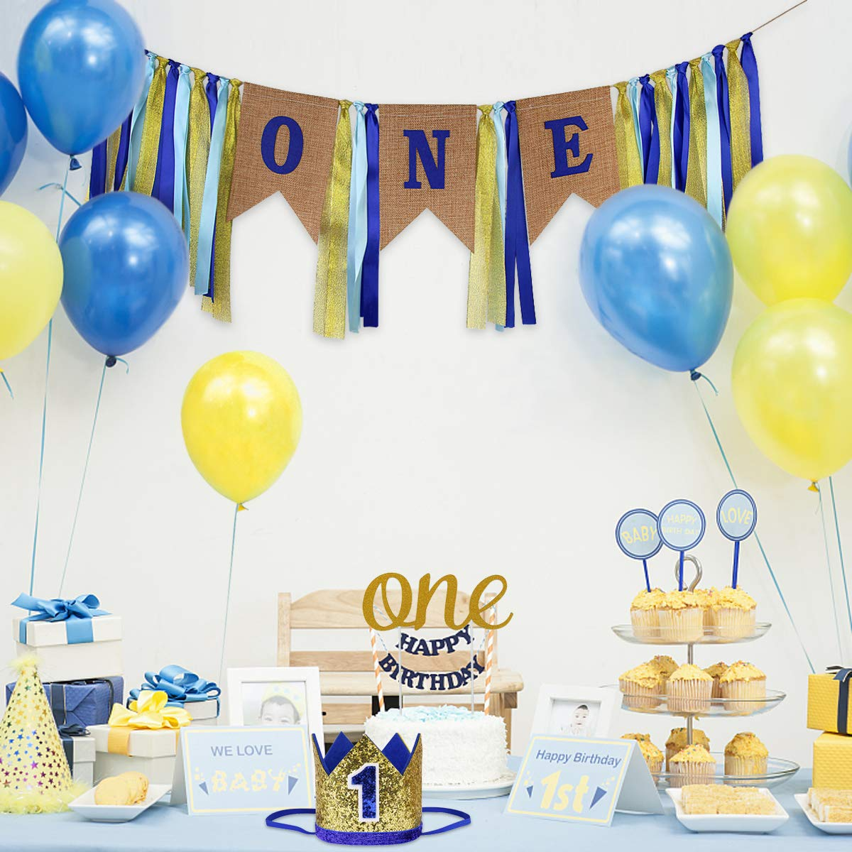 1st Birthday Themes Boy.Details About First Birthday Decorations Party Supplies For Boy One Burlap Banner Crown Topper