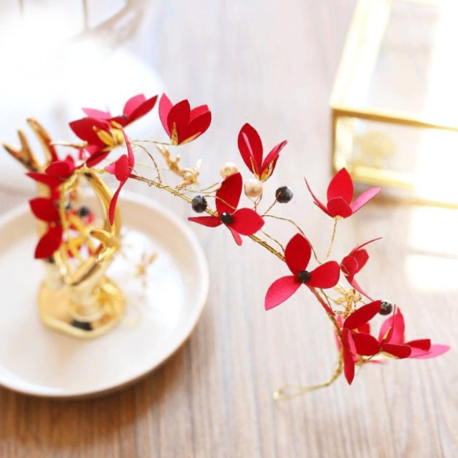 Red flower headband wedding bridal leaf floral headpiece crown tiara red flower headband wedding bridal leaf floral headpiece crown tiara hair access izmirmasajfo Images