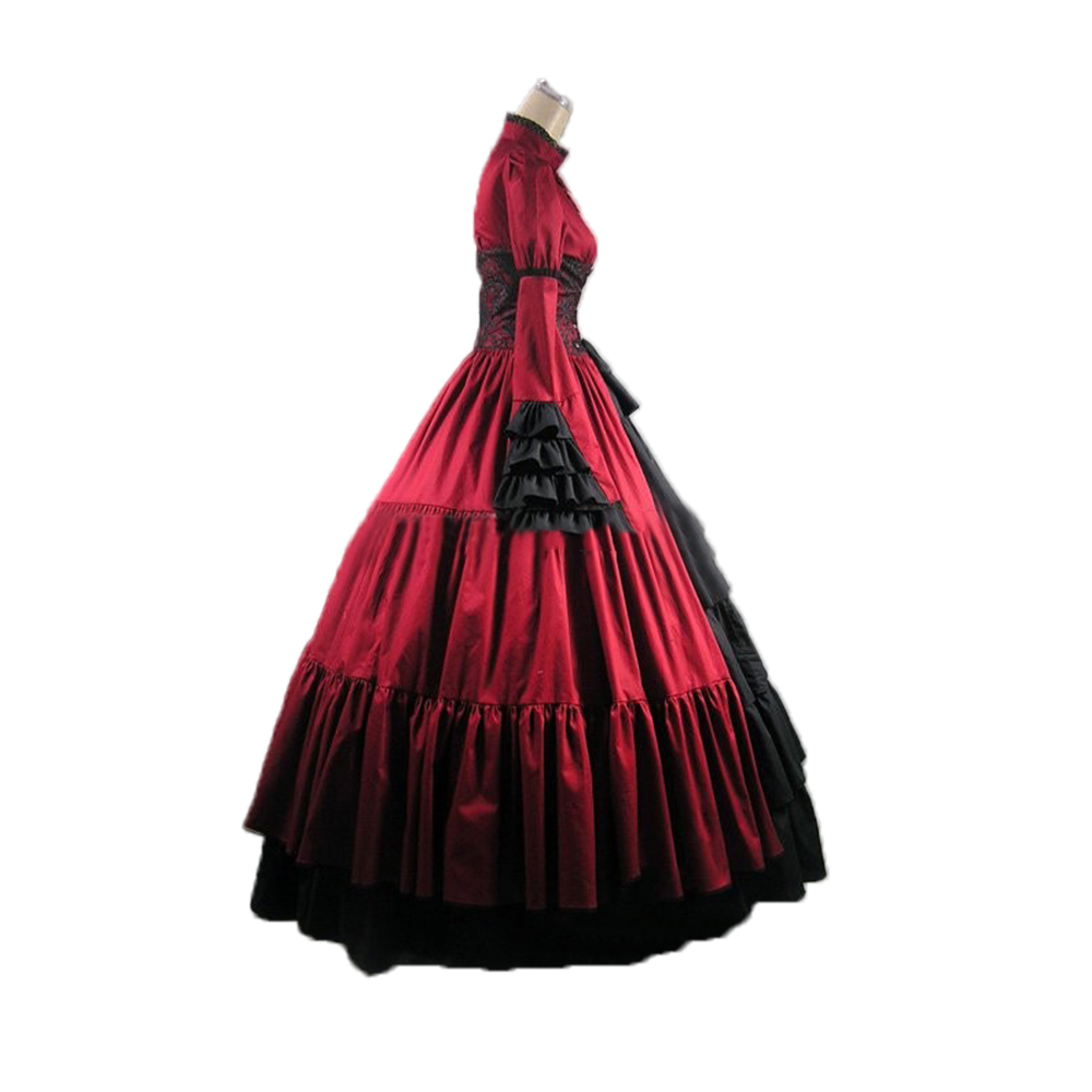 Victorian Gothic Queen Christmas Corset Ball Gown Steampunk Theater ...