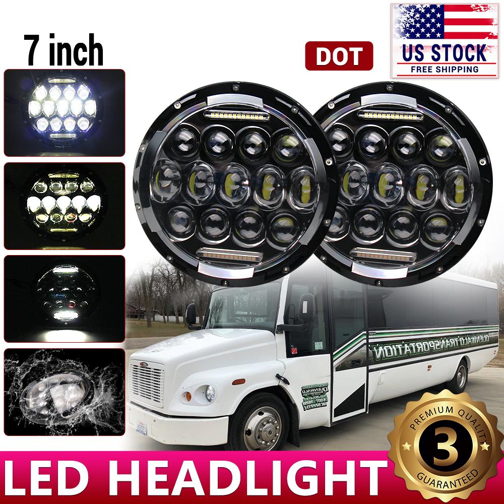 "7/"" Round LED Headlight Hi//Lo Beam Fit For Freightliner Coronado Century Class"