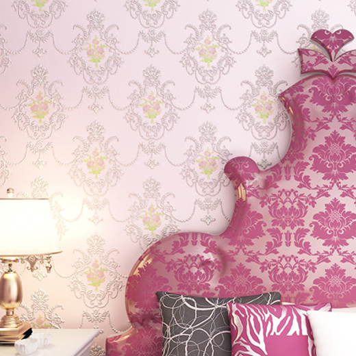 White 3D Textured Embossed Roses flower Damask Wallpaper mural Wall ...