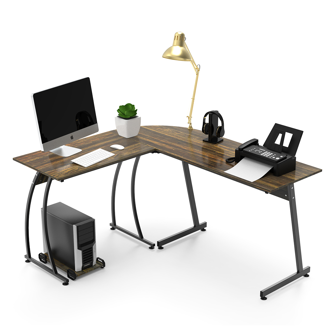 Details about l shaped corner computer desk 59 x 51 home office desks 3 piece corner table