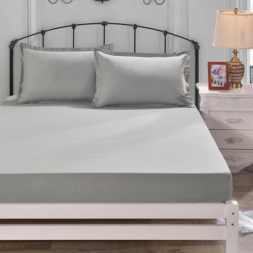 Solid Color Fitted Sheet Mattress Protector Cotton Bed
