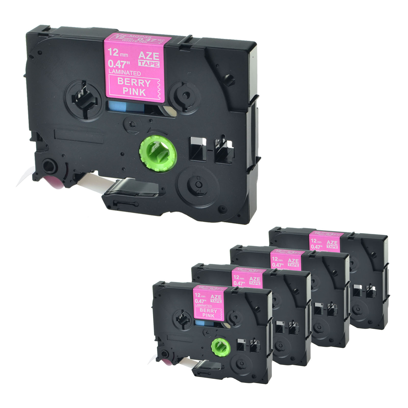 """4 Pack TZ TZe 12mm MQP35 for Brother P-touch 1//2/"""" White on Berry Pink Label Tape"""