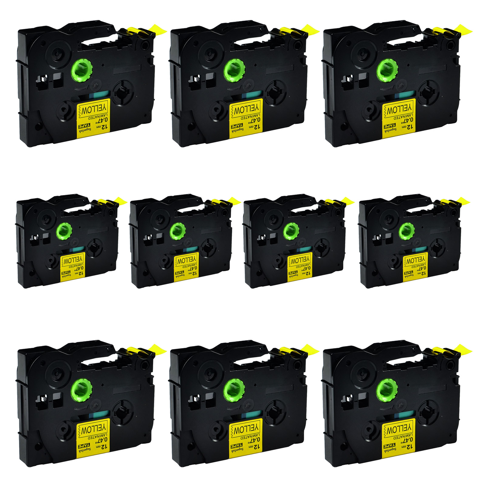 """2PK TZ631 TZe631 Black on Yellow Label Tape for Brother P-Touch PT-E200 1//2/"""""""