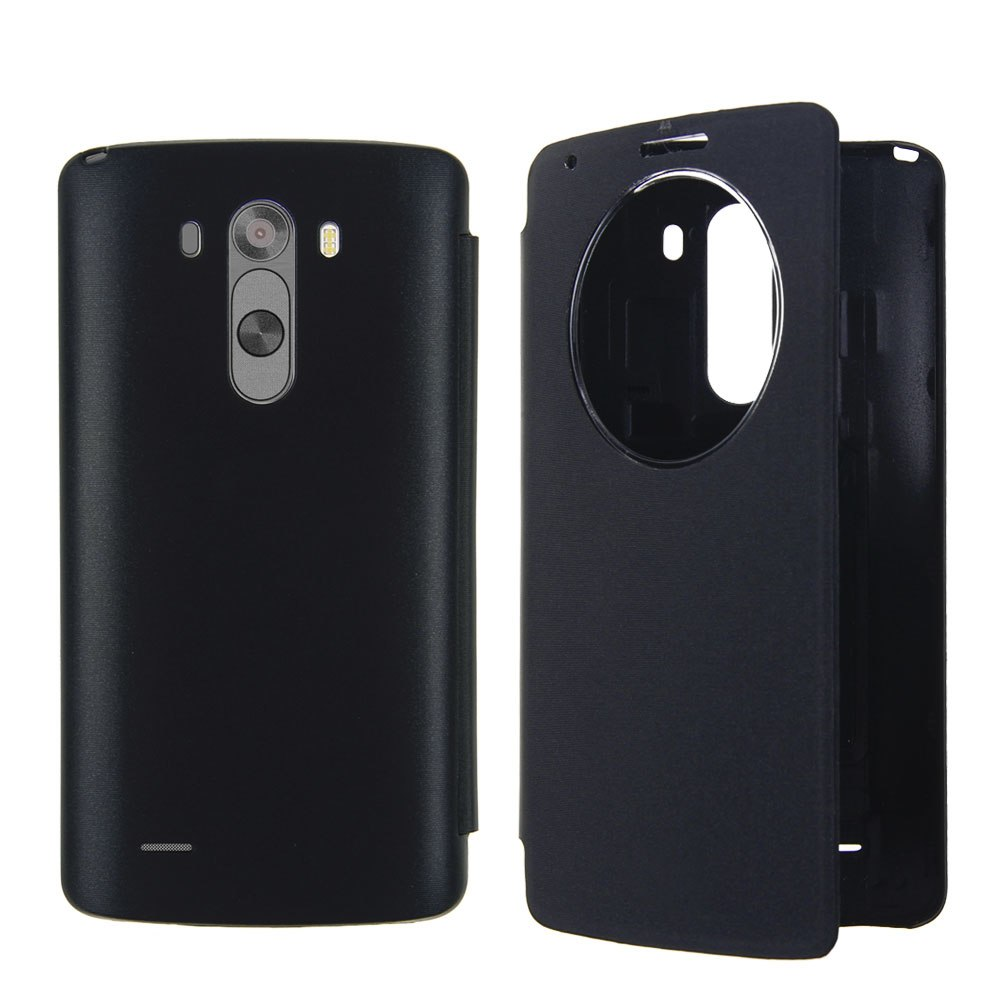 Window Circle Flip Leather Case Battery Housing Cover For