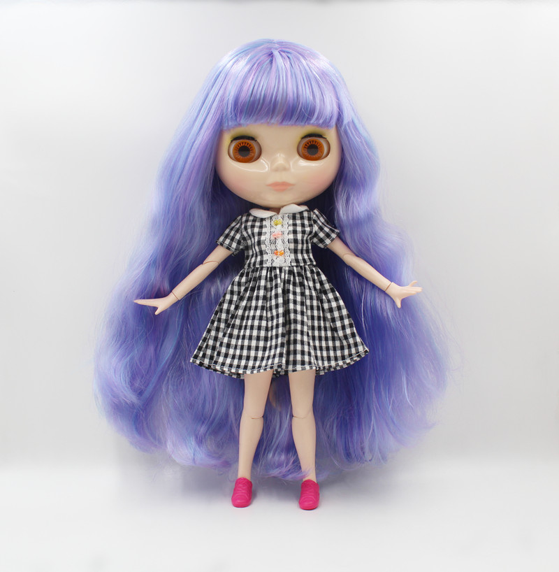 Wholesale Blyth Doll Blue Purple Mixed Bangs Curly Hair 19