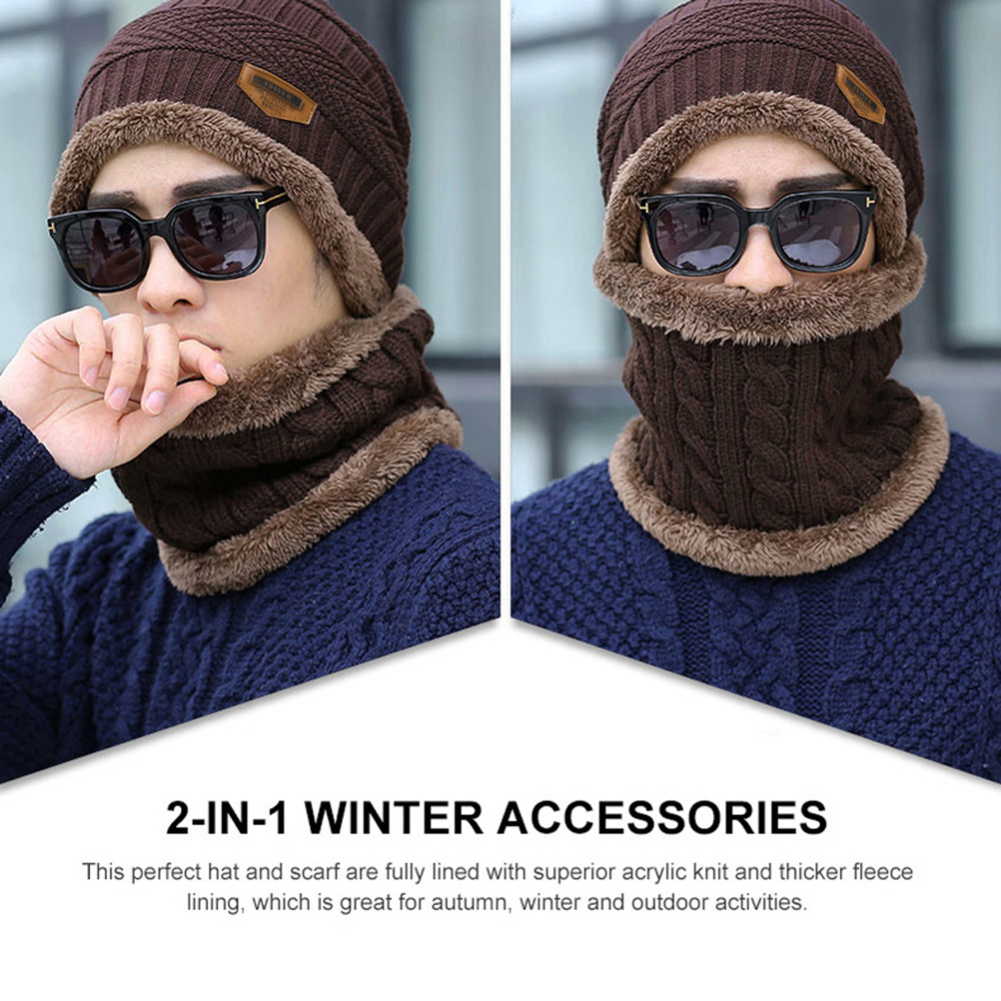 Kid Boys Winter Knitted Scarf and Hat Set Warm Knitting Thicken Lined hap OW