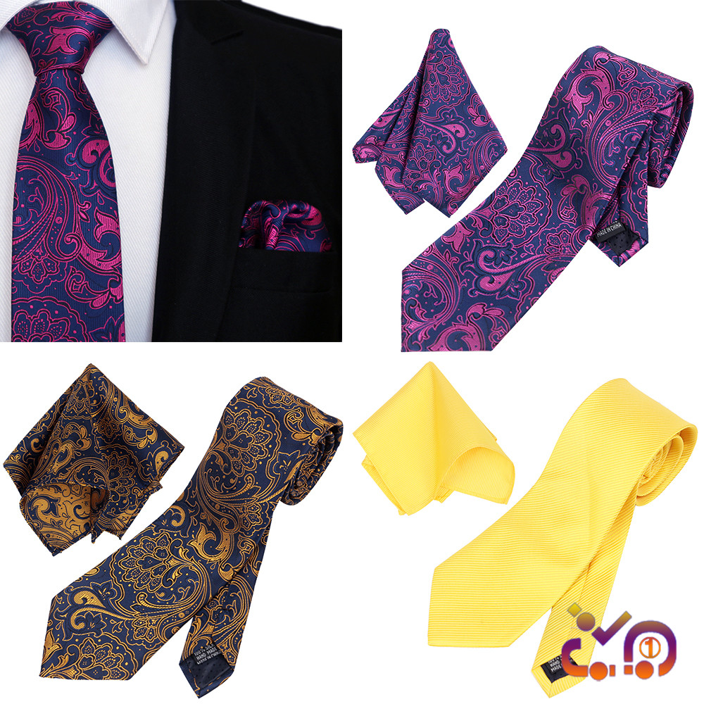 Men Floral Paisley Wedding Tie /& Pocket Square Hanky Handkerchief Matching Set