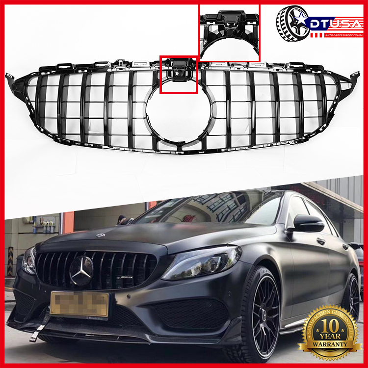 Black W/ Camera AMG GT R Vertical Grill Grille For