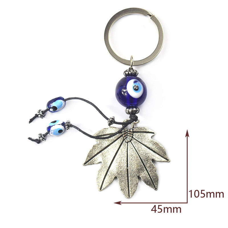 Turkish Blue Evil Eye Peacock Peafowl Keychain Chain Ring Charm Amulets Blessing