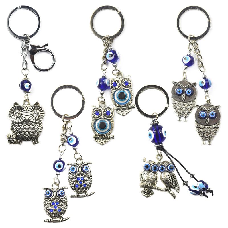 New Silver Blue Owl keychain Key Chain Ring Ships Today Pretty