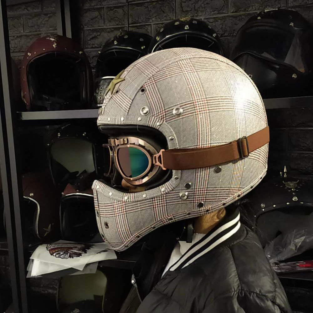 Vintage Full Face Motorcycle Helmet w/ Goggles for Street ...