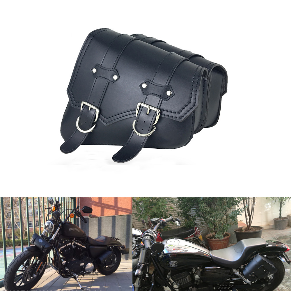 80eeebf0e3 Details about Motorcycle Saddlebag Luggage Bag Deluxe Leather Tool Sissy  Bar Rider Travel Bag