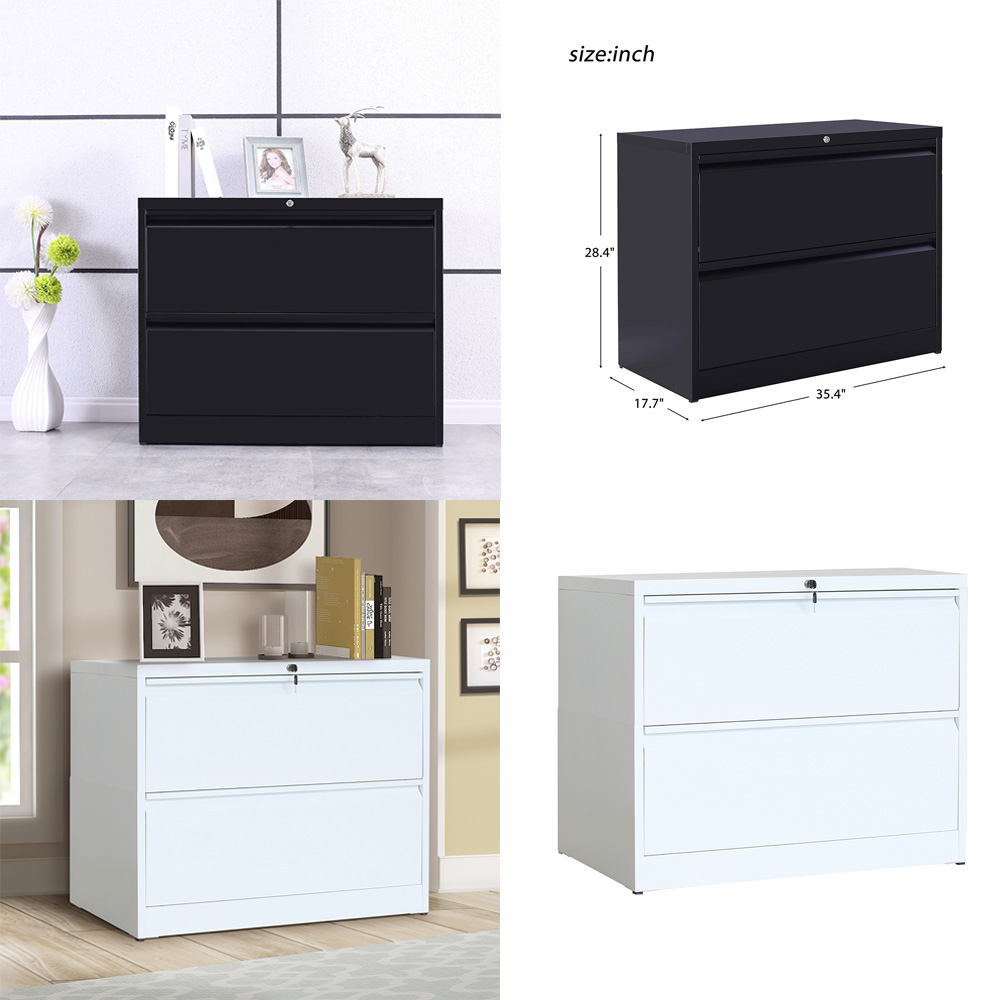 2 Drawer Lateral File Cabinet W Lock Heavy Duty Metal Filing Cabinet White Black Ebay