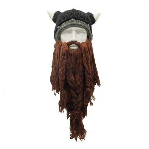 cee1388b485 Viking Beanie Beard Ski Cap Crochet Knit Hat With Horns Winter Handmade Hat