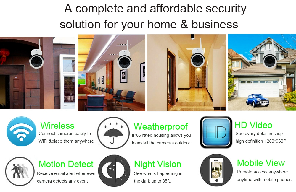 Details about 4CH Full HD Wifi NVR 960P Outdoor Network CCTV Wireless  Security Camera System
