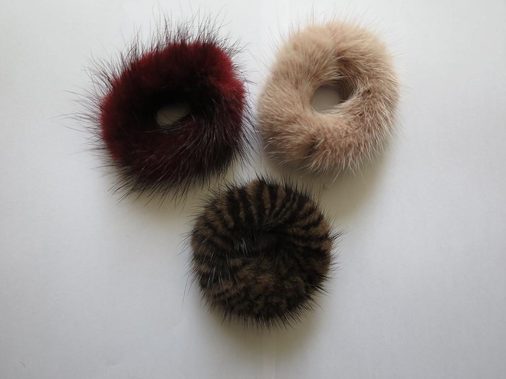 3pcs of real rabbit  fur hair scrunchies ponytail holders hair bands black