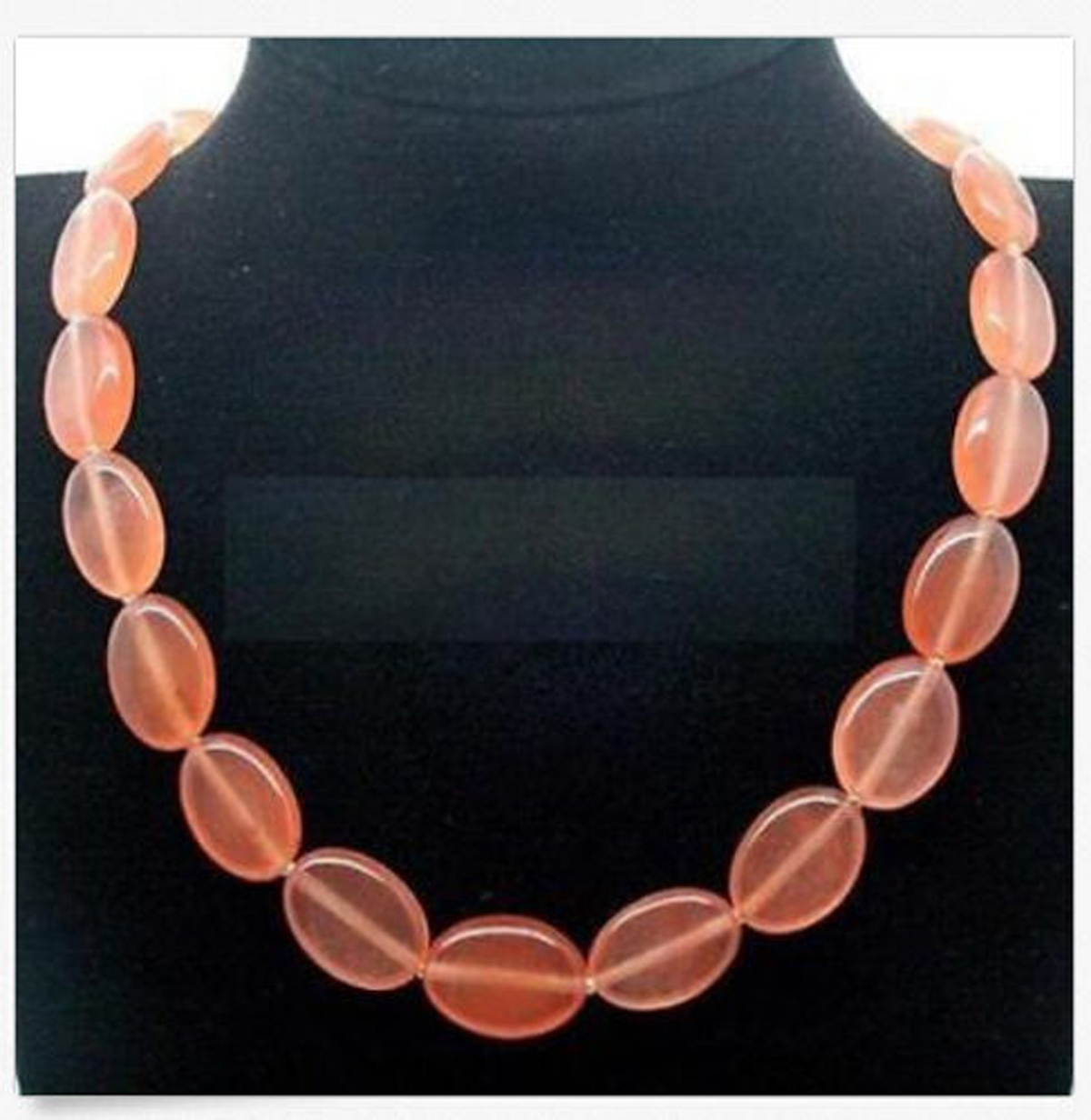 Stunning-Natural-13x18mm-Oval-Gemstone-Necklace-Knot-18Inch-JN2005