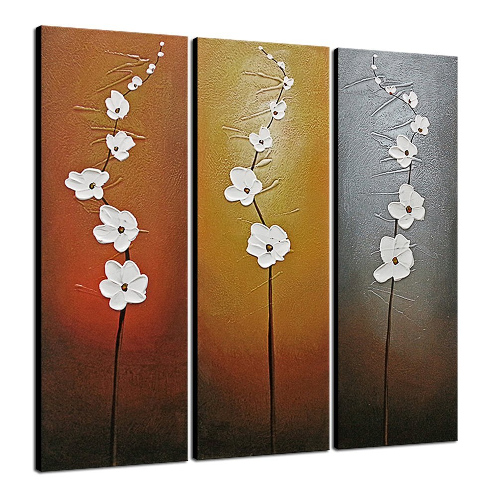 Details About Original Hand Paint Canvas Oil Paintings Pictures Wall Art Home Decor Flower 3pc
