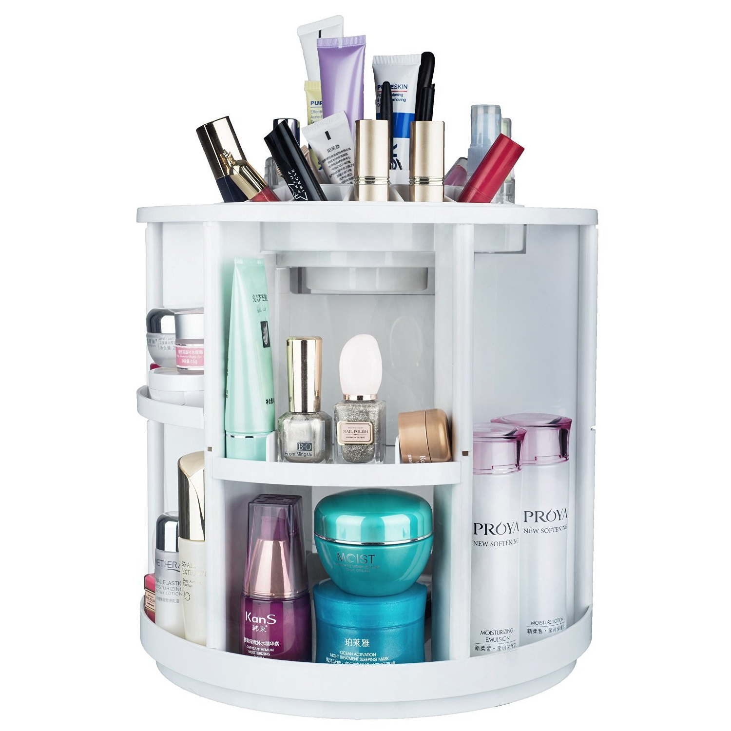 Home Makeup Cosmetic Organization Boxes Equipped Carousel Storage ...
