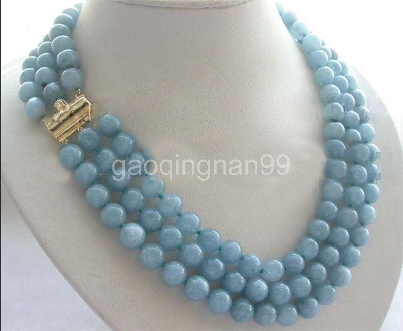 3Rows 8mm Blue lapis lazuli Gemstones Round Beads Hand Knotted Necklace