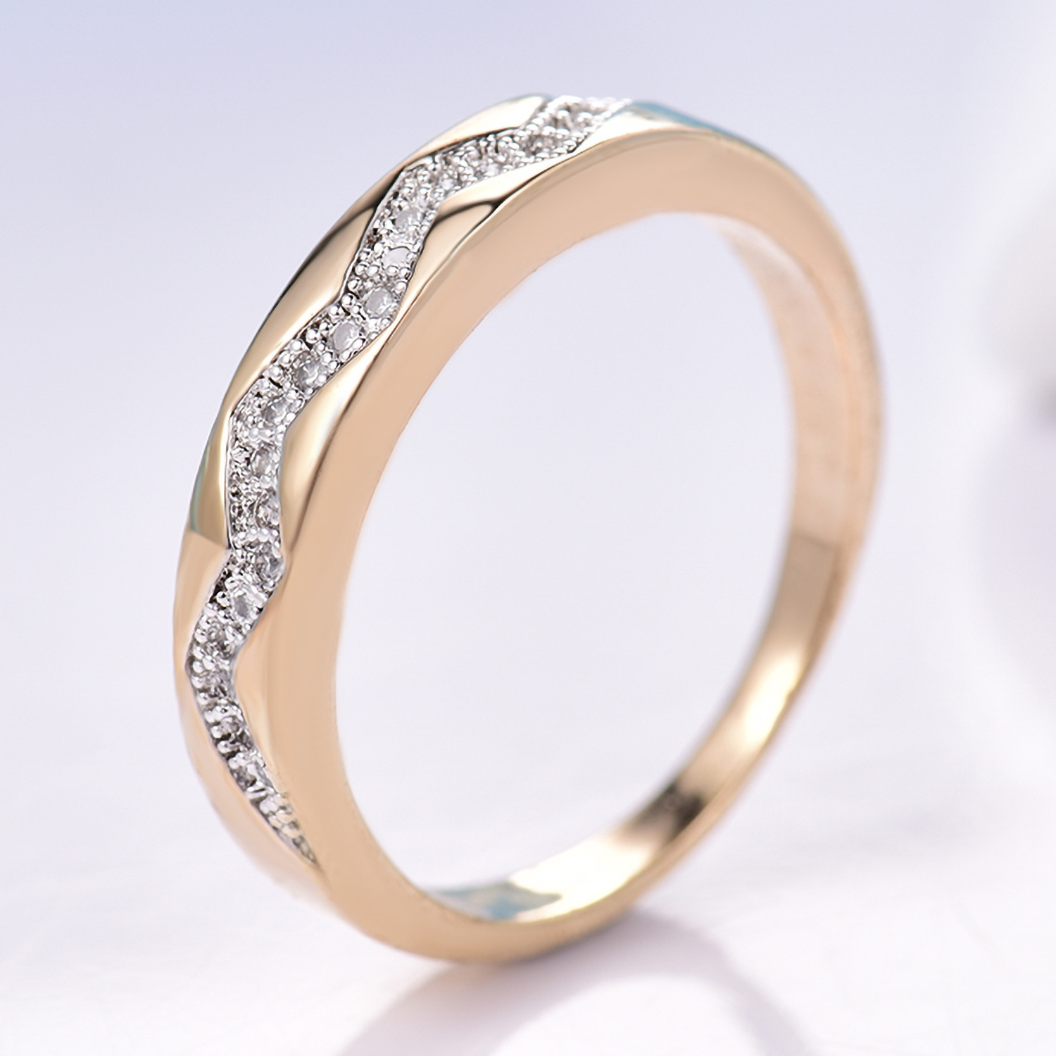 ce6bb746feb0 Wave Lightning Silver   Gold Filled Crystal Sapphire Women Lady Wedding  Ring BOX