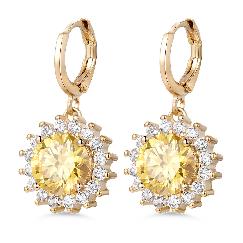 Pear Cut White Cubic Zirconia Rhinestone 18K Yellow Gold Filled Hoop Earrings