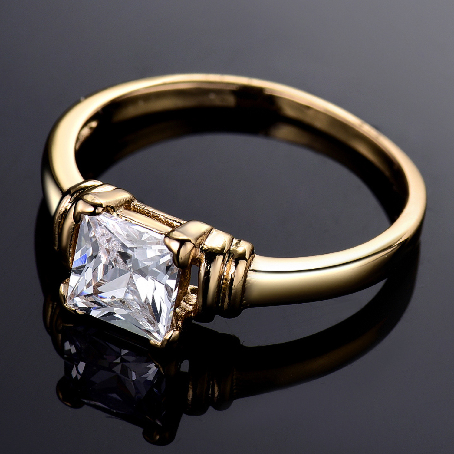 Details about Princess Cut Clear Swarovski Crystal 24K Gold Filled Women  Lady Finger Rings BOX 74ea0c705
