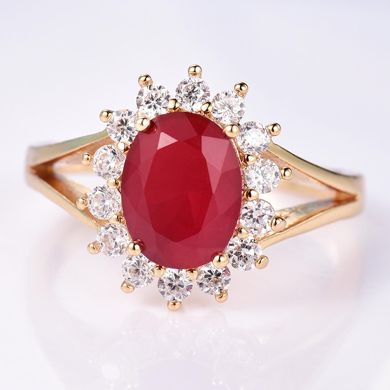 Luxury 24K Yellow Gold Filled Oval Red Zircon Crystal Women Wedding Finger  Rings b97097a32f