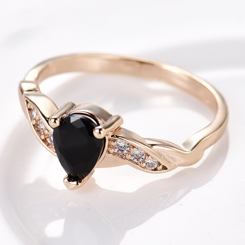 Twist Rope Ribbon 18K Yellow Gold Filled Pear Black Crystal Gemstone Women Rings