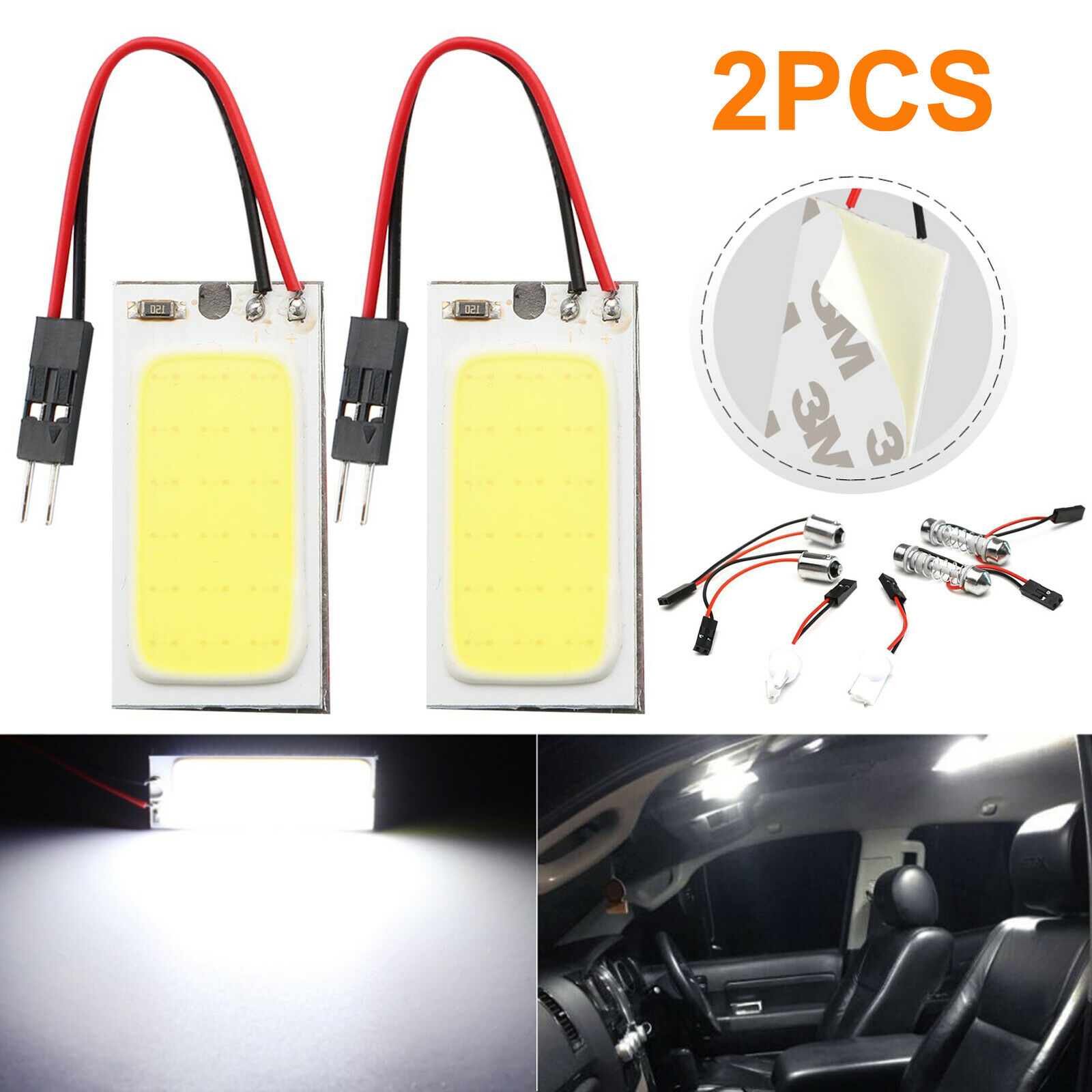 Details About 2pcs 36 Led Cob Car Roof Door Light Bulbs Xenon Hid White Interior Lamps 12v Gl