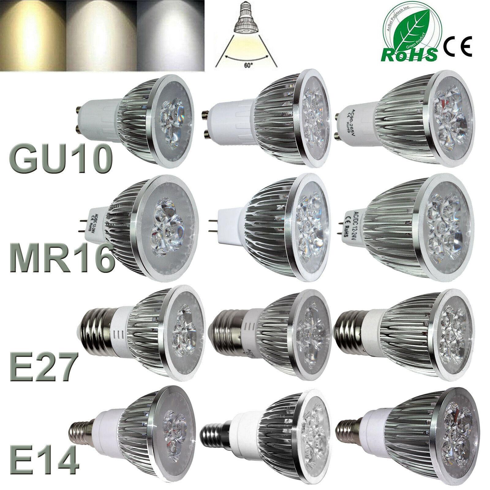 10x GU10 MR16 E27 5W 7W 9W LED Bulbs Spotlight SMD Lamps Day//Warm White Light
