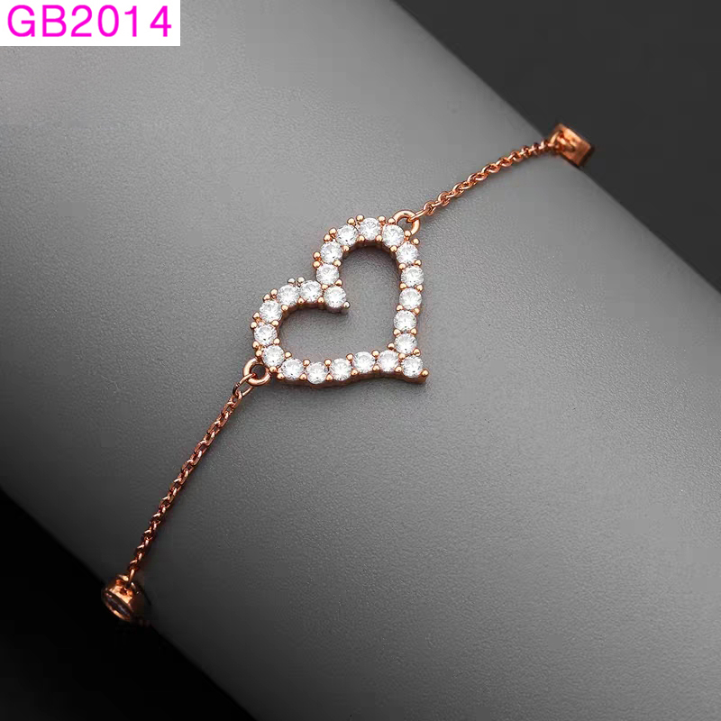 Details About New Simple Love Heart Bracelets For Women Fashion Jewelry Rose White Gold Plated