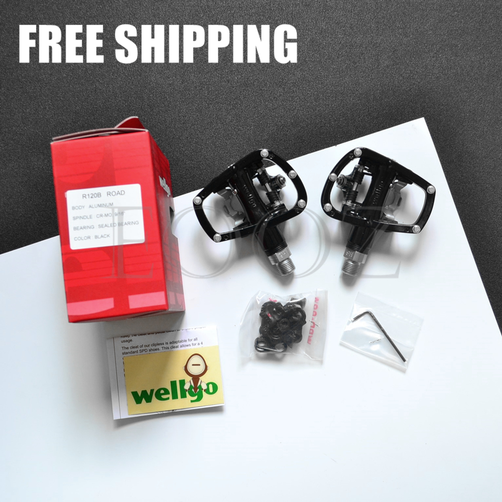 Wellgo R120B MTB Road Pedals Sealed Bearing Self-locking Come With Cleat Set