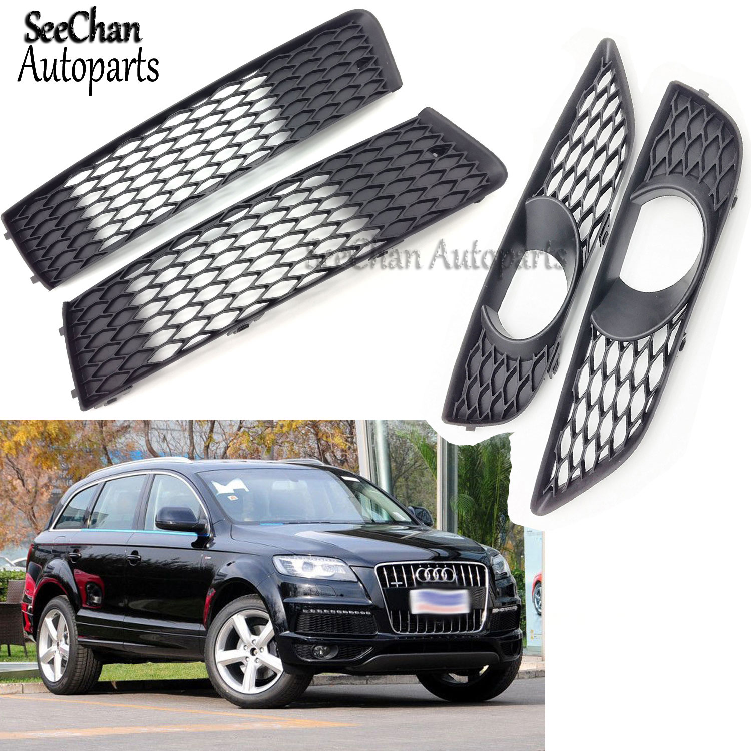 Fit For Audi Q7 2010-2015 Front Bumper Lower Grilles Fog