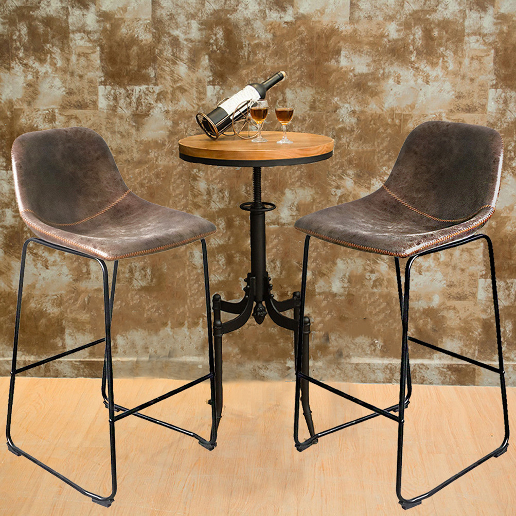 Pleasing Details About 2 Centiar Counter Height Bar Stool Metal Base Brown Soft Comfortable Bucket Seat Bralicious Painted Fabric Chair Ideas Braliciousco
