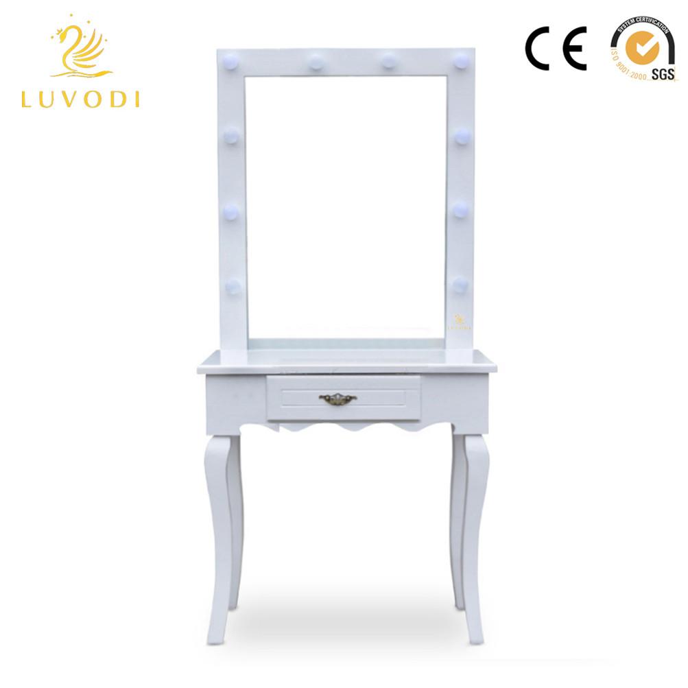 White Vanity Makeup Dressing Table Set W Led Lighted
