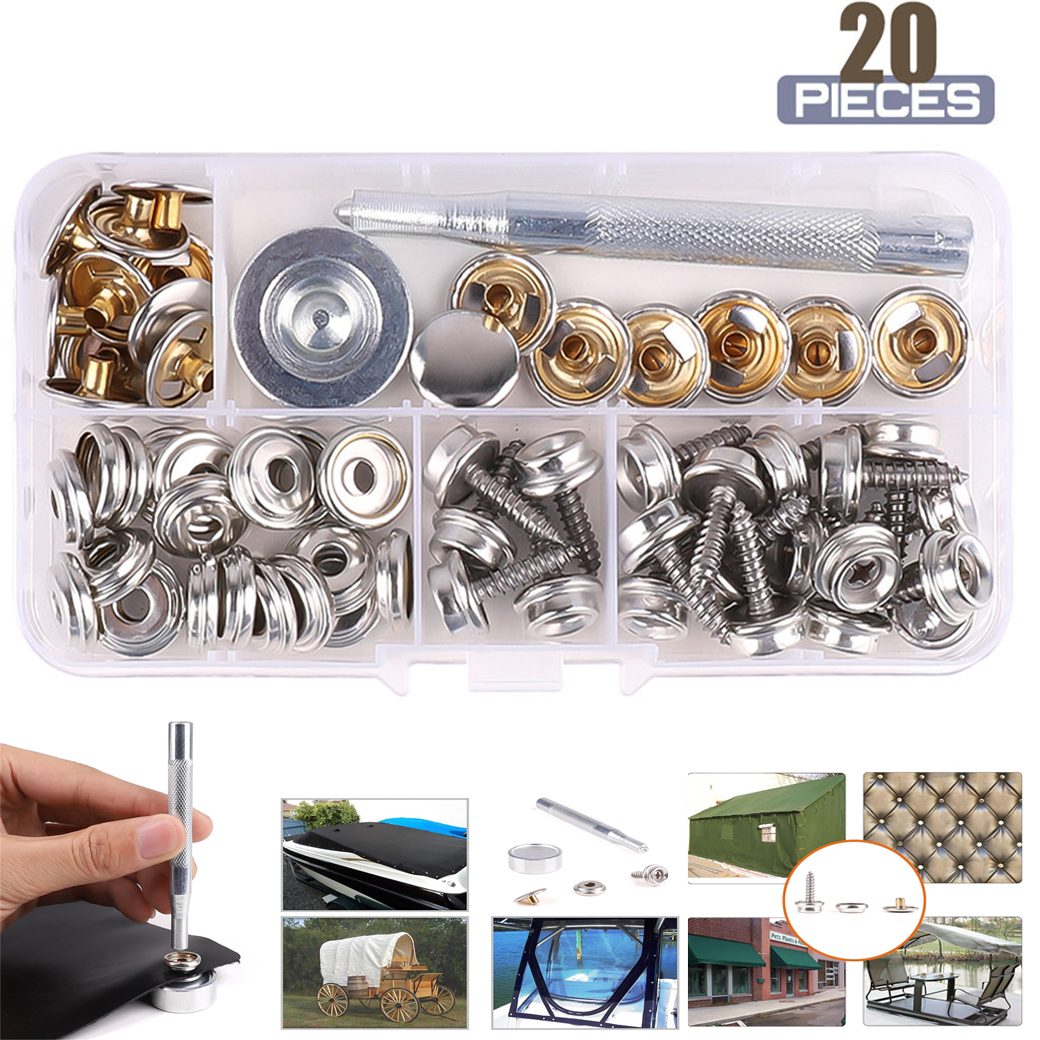 "Snap Fastener 15mm 5//8/"" Set Kit Stainless Steel Canvas Stud Boat Brand new"