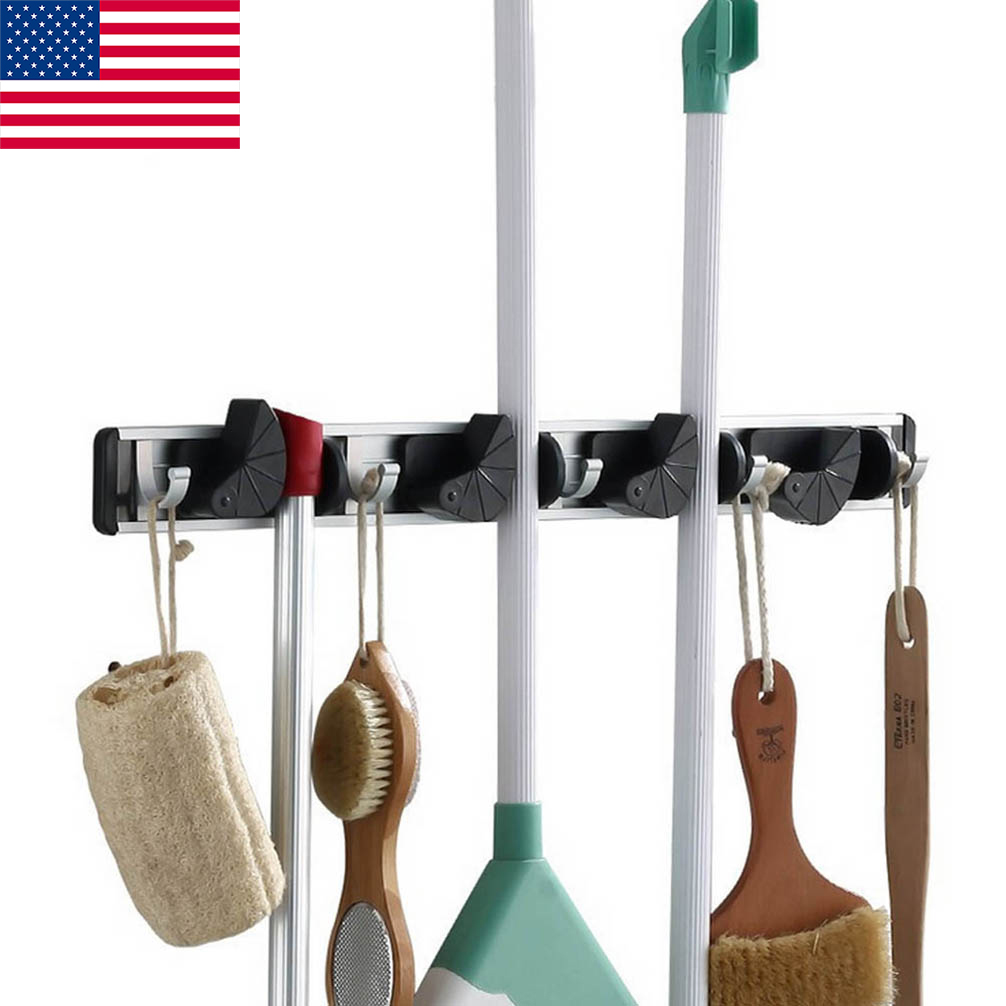 Details About Wall Mount Mop And Broom Holder 4 Position With 5 Hooks Garage Storage Us Stock