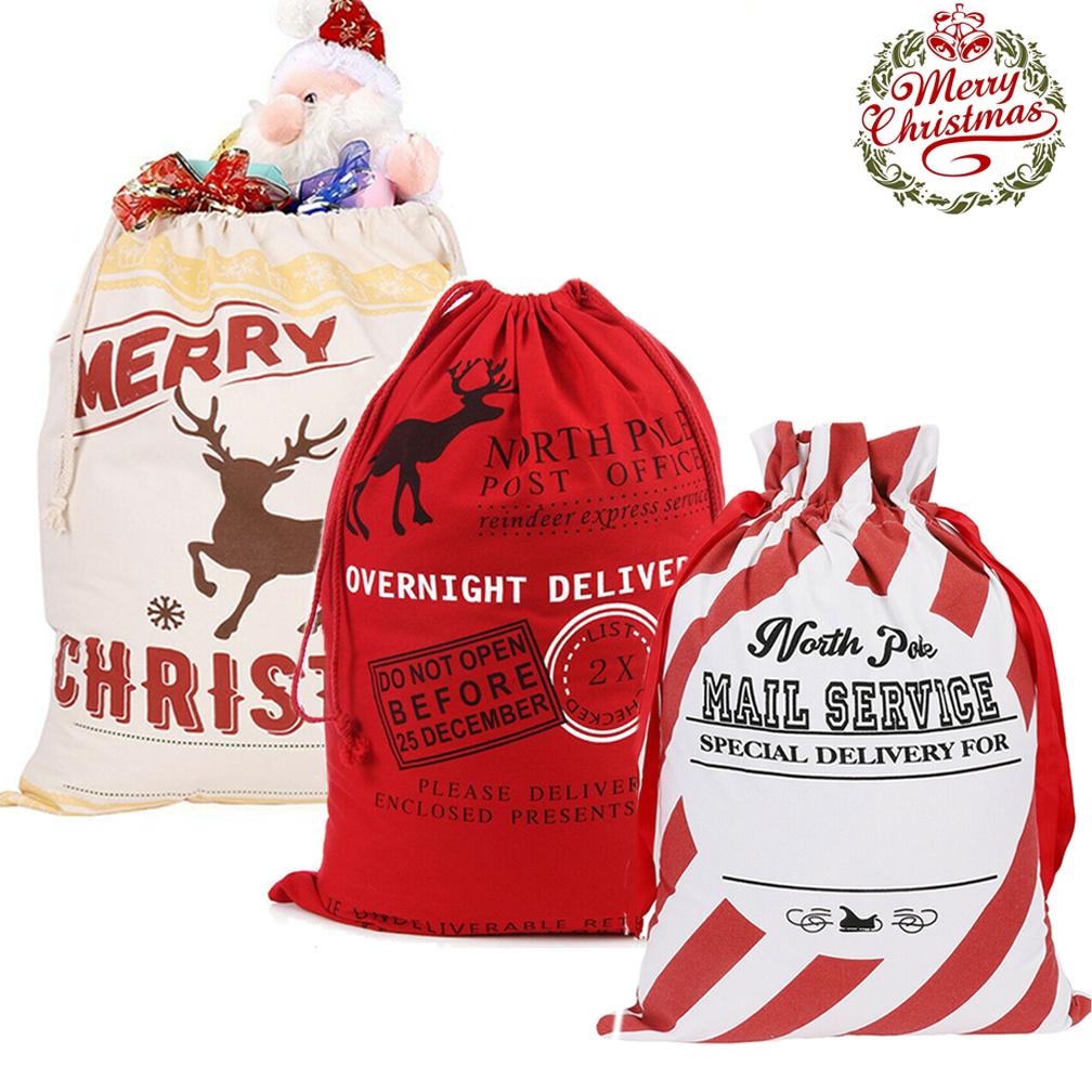 Canvas Merry Christmas Snowflake Christmas Tree Reindeer Storage Gift Bag