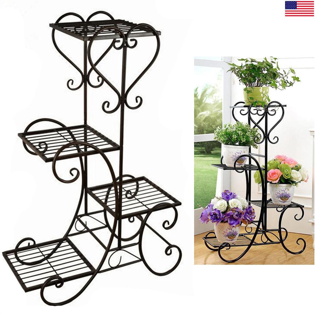 Genial 4 TIER Metal Shelves Flower Pot Plant Stand Display Indoor Outdoor Garden  Patio
