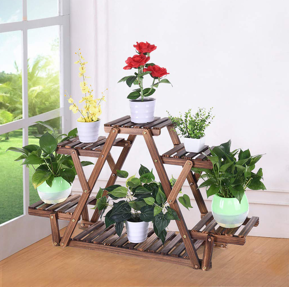 6 Tiers Wooden Plant Stand Flower Pot Rack Shelf Garden Display Home Decor
