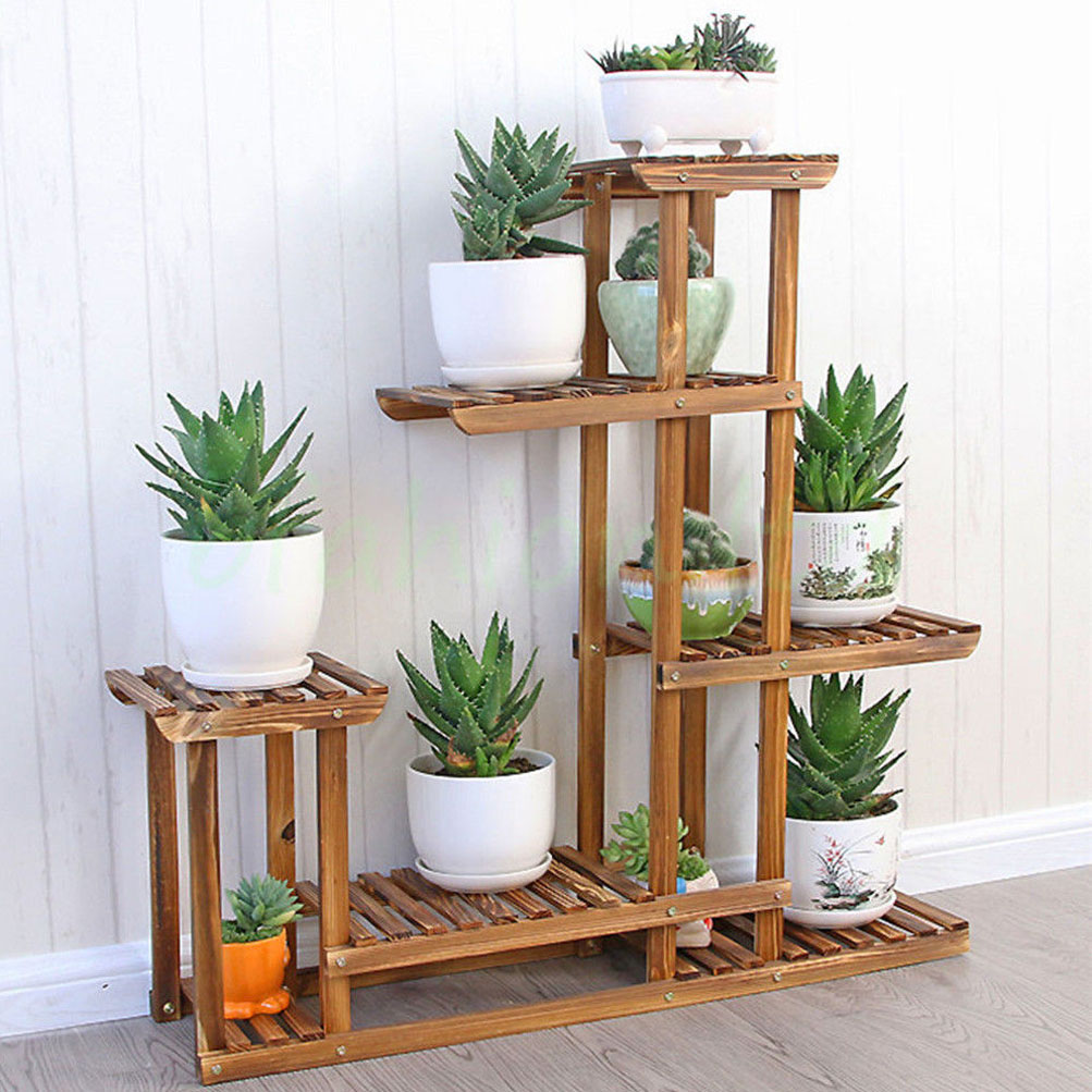 Heavy Duty Wood 5tier Plant Stand Shelf Indoor Outdoor