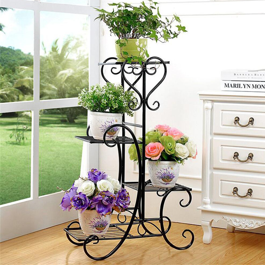 Metal Outdoor Indoor Pot Plant Stand Garden Decor Flower Rack ...
