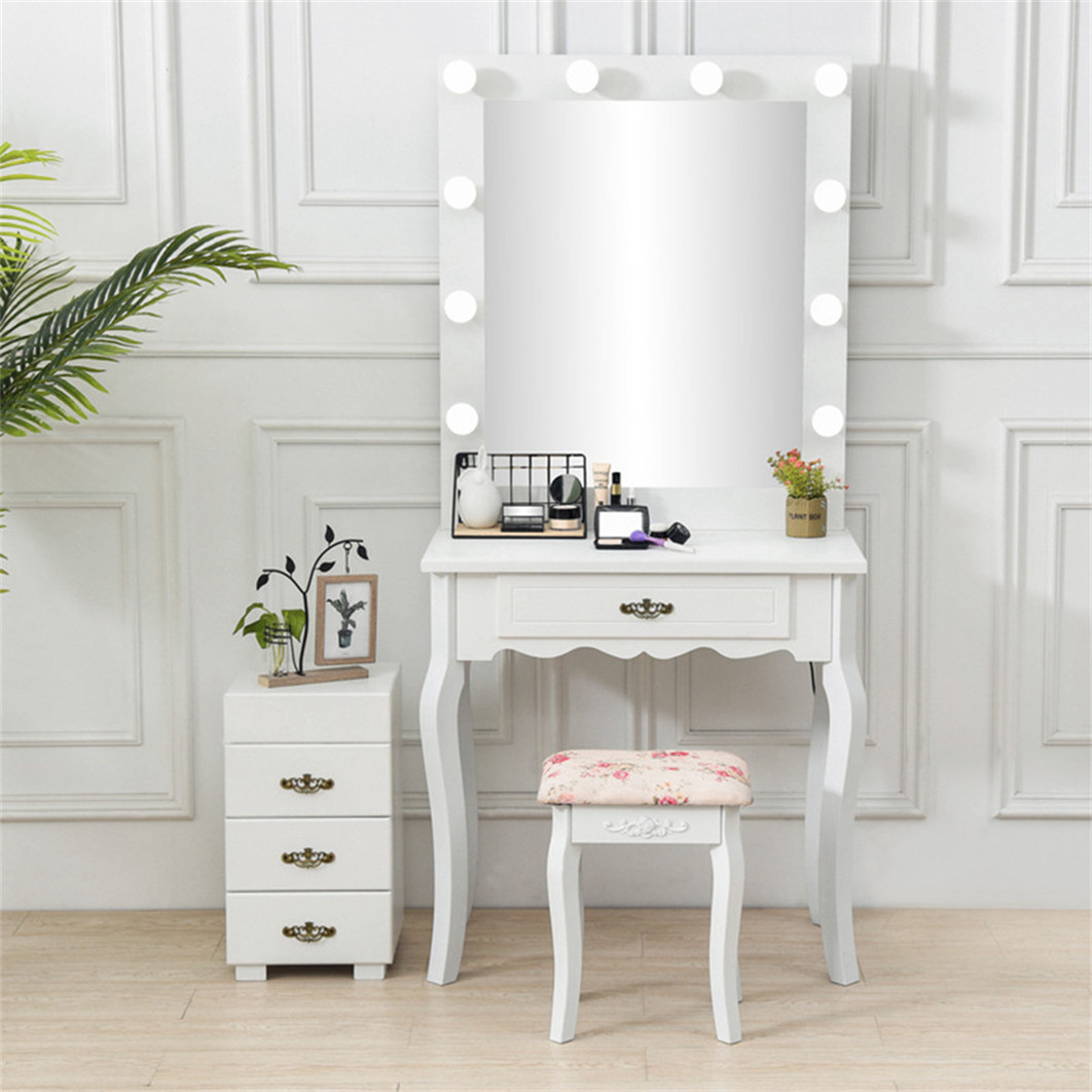 outstanding bedroom vanity table lights | White Makeup Dressing Table with 10 Light Bulbs 1 Drawer ...