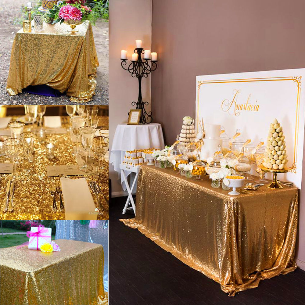 Little Black Lipstick Cheap Dollar Store Christmas Decor: Sparkly Gold Sequin Tablecloth For Home/Wedding/Event