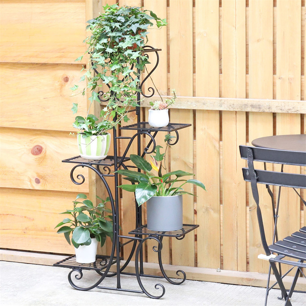 Details About Refresh Corner Tiered Flowers Pots Display Stand Wrought Iron  Planter Rack Shelf