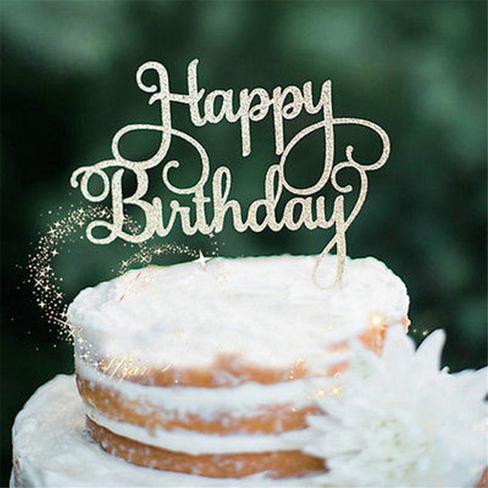 Details About Happy Birthday Cake Toppers Pick Glitter Calligraphy Sparkle Decoration Sign