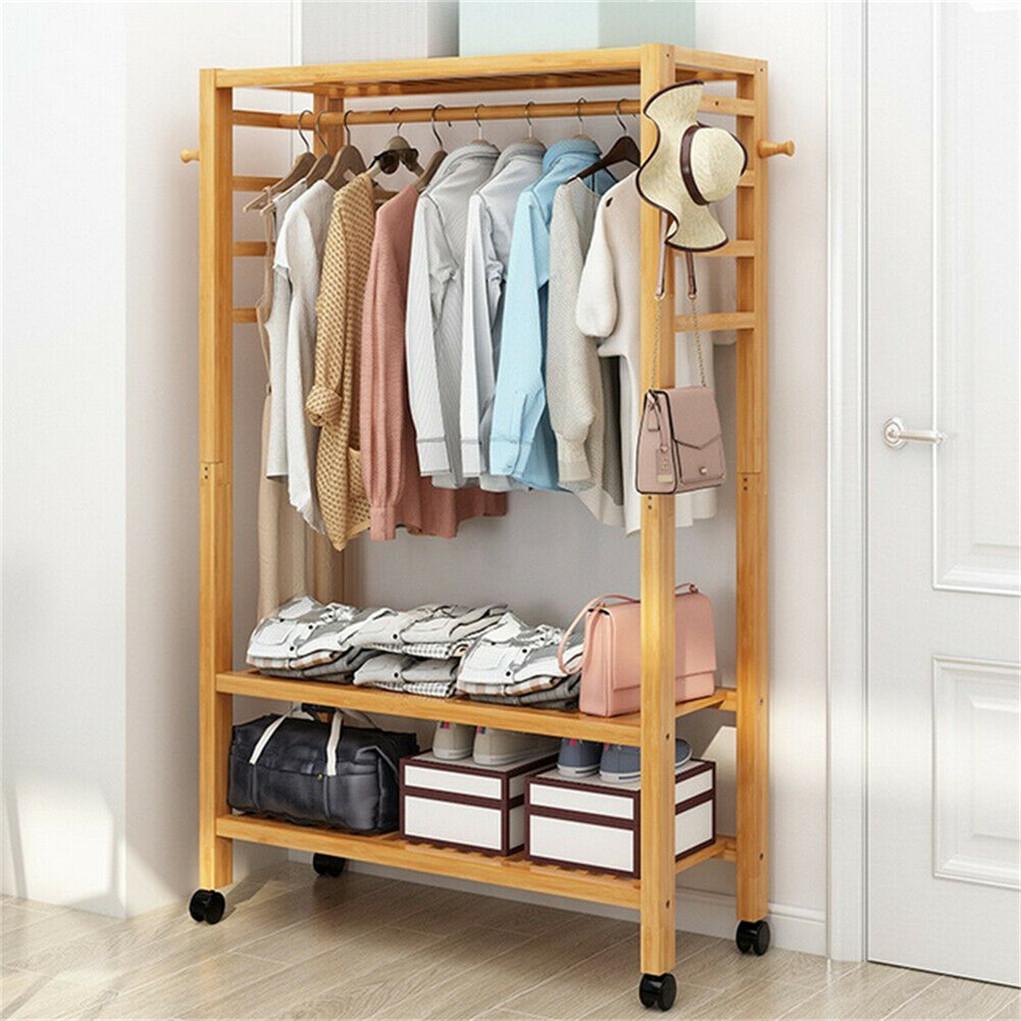 Shoe Rack Coat Hanger.Details About Heavy Duty Hallway Wooden Rail Clothes Hanging Stand Shoe Rack W 2 Tier Shelves